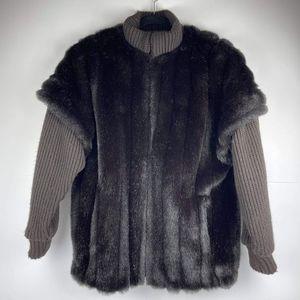 Vintage 80's Jordache Women's Coat Jacket Faux Fur Rabbit Size 9/10 Sleeve Knit